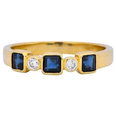 Chaumet Paris Sapphire Diamond 18 Karat Gold Stacking Ring