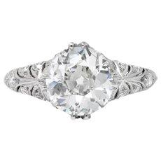 Exceptional Edwardian 2.89 CTW Diamond Platinum Engagement Ring GIA