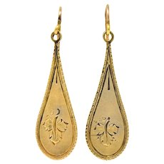 Victorian 14 Karat Gold Etched Clover Drop Earrings