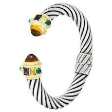 David Yurman Citrine Amethyst Chrysoprase Sterling Silver 14 Karat Gold Renaissance Cuff Bracelet