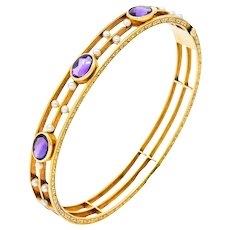 Art Nouveau Amethyst Pearl 14 Karat Gold Bangle Bracelet