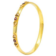 Victorian 1.65 CTW Garnet 14 Karat Two-Tone Gold Bangle Bracelet
