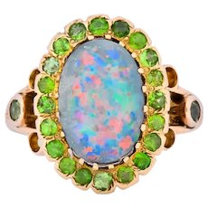 Art Nouveau Black Opal Demantoid Garnet 14 Karat Gold Cluster Ring