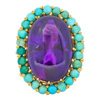 Retro 1960's Amethyst Turquoise 18 Karat Gold Cluster Cocktail Ring
