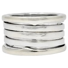 Bulgari Italian 18 Karat White Gold B. Zero1 Band Ring