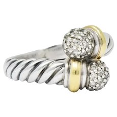 David Yurman Diamond Sterling Silver 18 Karat Gold Bypass Ring