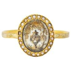Georgian Enamel Seed Pearl 18 Karat Gold Memento Mori Mourning Urn Ring