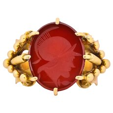 Art Nouveau Carnelian Intaglio 18 Karat Gold Greek Warrior Signet Ring