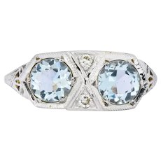 Edwardian 1.30 CTW Aquamarine Diamond Platinum Dinner Ring