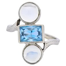 Art Nouveau Aquamarine Moonstone 14 Karat White Gold Ring