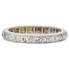 1920's Art Deco 0.38 CTW Diamond 14 Karat White Gold Orange Blossom Band Ring