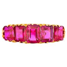 Art Nouveau 3.20 CTW No Heat Burma Ruby 18 Karat Gold Ring GIA