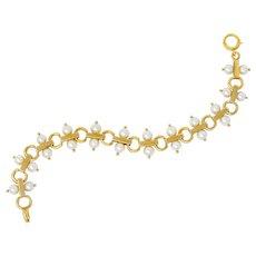 Tiffany & Co. Vintage Pearl 14 Karat Gold Link Bracelet