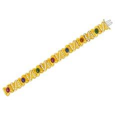 Vintage Diamond Citrine Amethyst Tourmaline Multi-Gem 18 Karat Gold Link Bracelet
