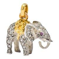 Belle Epoque Edwardian French Diamond Ruby Silver 18 Karat Gold Elephant Charm