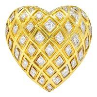 Tiffany & Co. Large Diamond Platinum-Topped 18 Karat Gold Heart Pendant Brooch