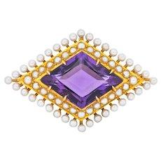 Krementz Art Nouveau Amethyst Pearl 14 Karat Gold Pendant Brooch