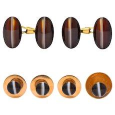 Friedrich Hartung Victorian Oval Cabochon Agate 14 Karat Gold French Men's Cufflink Dress Set