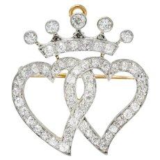 Edwardian 1.35 CTW Diamond Platinum-Topped 18 Karat Gold Crowned Heart Pendant Brooch
