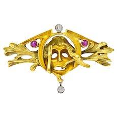 Art Nouveau Ruby Diamond 18 Karat Two-Tone Gold French Green Man Brooch
