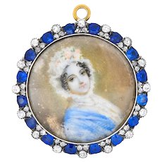 Tiffany & Co. Victorian 2.88 CTW Diamond Sapphire Silver-Topped 14 Karat Gold Painted Portrait Pendant Brooch