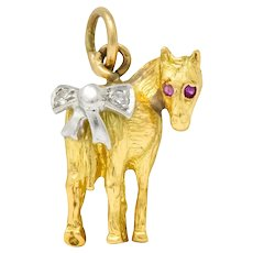 Retro Diamond Ruby Platinum 18 Karat Gold Donkey Charm