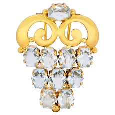 Cartier Retro Aquamarine 14 Karat Gold Clip Brooch