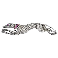 Large Victorian 3.47 CTW Diamond Ruby Silver Gold Greyhound Brooch