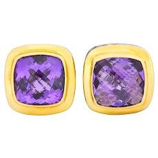 David Yurman Amethyst 18 Karat Gold Sterling Silver Earrings