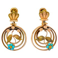 Victorian Turquoise 10 Karat Tri-Gold Floral Earrings