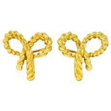 Tiffany & Co. Vintage 18 Karat Gold Bow Earrings