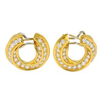 Tiffany & Co. Vintage 3.48 CTW Diamond 18 Karat Gold Hoop Swirl Earrings