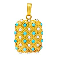 Victorian Turquoise Pearl 18 Karat Gold French Locket Pendant
