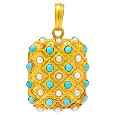 Victorian Turquoise Pearl 18 Karat Gold French Locket Pendant