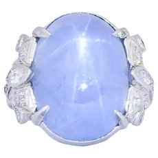 Art Deco 1930's 22.90 CTW Star Sapphire Diamond Platinum Ring