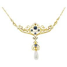 Krementz Art Nouveau 0.57 CTW Sapphire Pearl 14 Karat Gold Necklace