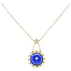 Victorian Pearl Enamel 14 Karat Yellow Gold Pendant Necklace