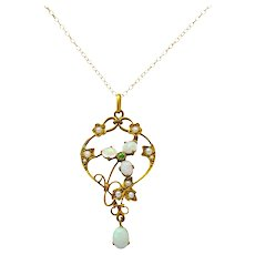 Art Nouveau Opal Demantoid Garnet Seed Pearl 14 Karat Gold Pendant Necklace