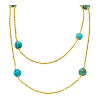 46 Inch Late Victorian Turquoise Bead 18 Karat Gold Long Chain Necklace