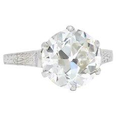 Edwardian 3.14 CTW Old European Cut Diamond Platinum Engagement Ring Circa 1915 GIA