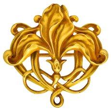 Riker Bros. Art Nouveau 14 Karat Gold Stylized Floral Brooch