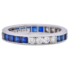 Tiffany & Co. 1950's Retro 1.42 CTW Diamond Sapphire Platinum Eternity Band Ring