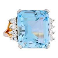 Retro 16.78 CTW Aquamarine Diamond 18 Karat Two-Tone Gold Cocktail Ring