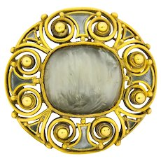 Louis Comfort Tiffany 1900's Arts & Crafts Hardstone Plique-A-Jour Enamel 18 Karat Gold LCT Brooch
