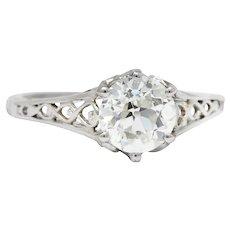 Circa 1915 Edwardian 1.13 CTW Diamond Platinum Engagement Ring GIA