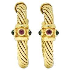 David Yurman Tourmaline Rhodolite Garnet 14 Karat Yellow Gold Hoop Earrings