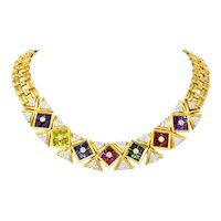 Paloma Picasso Tiffany & Co. 13.60 CTW Multi-Gem Tourmaline Amethyst Diamond 18 Karat Gold Necklace
