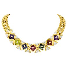 Paloma Picasso Tiffany & Co. 13.60 CTW Multi-Gem Tourmaline Amethyst Diamond 18 Karat Gold Necklace