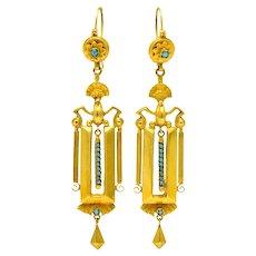 Circa 1880's Victorian Etruscan Revival Turquoise 14 Karat Gold Drop Earrings
