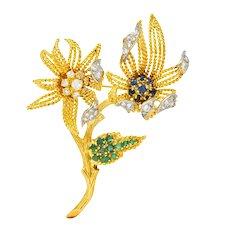 Pierre Sterlé 1960's Vintage 2.25 CTW Diamond Sapphire Emerald 18 Karat Gold Flower Brooch